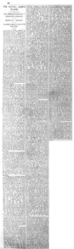 "An article titled, ""Our Representative on a Recruiting Schooner; Death of a 'Return'; A Large Number of Recruits Obtained."" Written as part of the series ""The Kanaka Labour Traffic"" by J.D. Melvin."