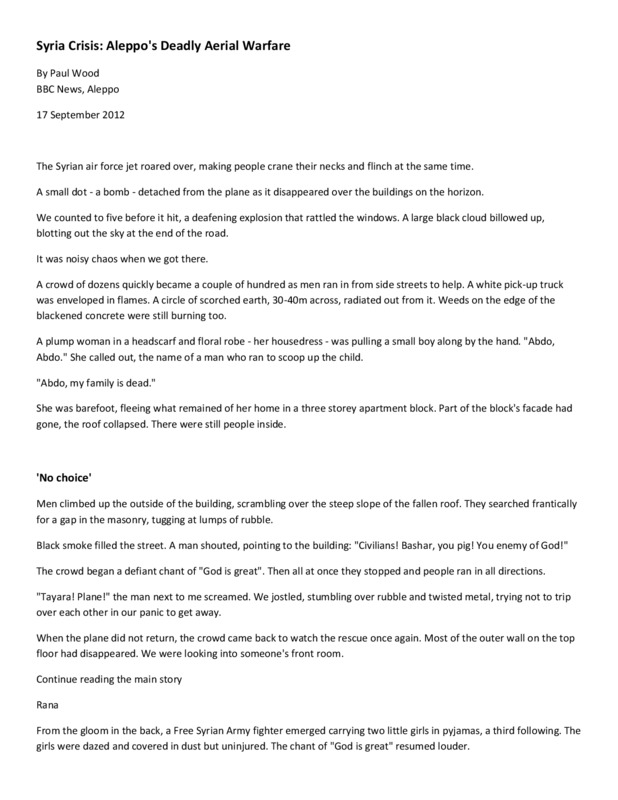Document about Aleppo's deadly aerial welfare