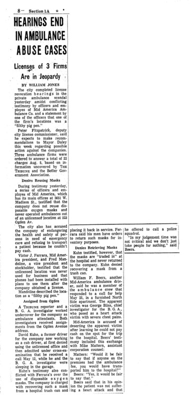 "Chicago Tribune article titled, ""Hearings End In Ambulance Abuse Cases."" Written by William Jones as part of the reaction to the Private Ambulance Investigation."