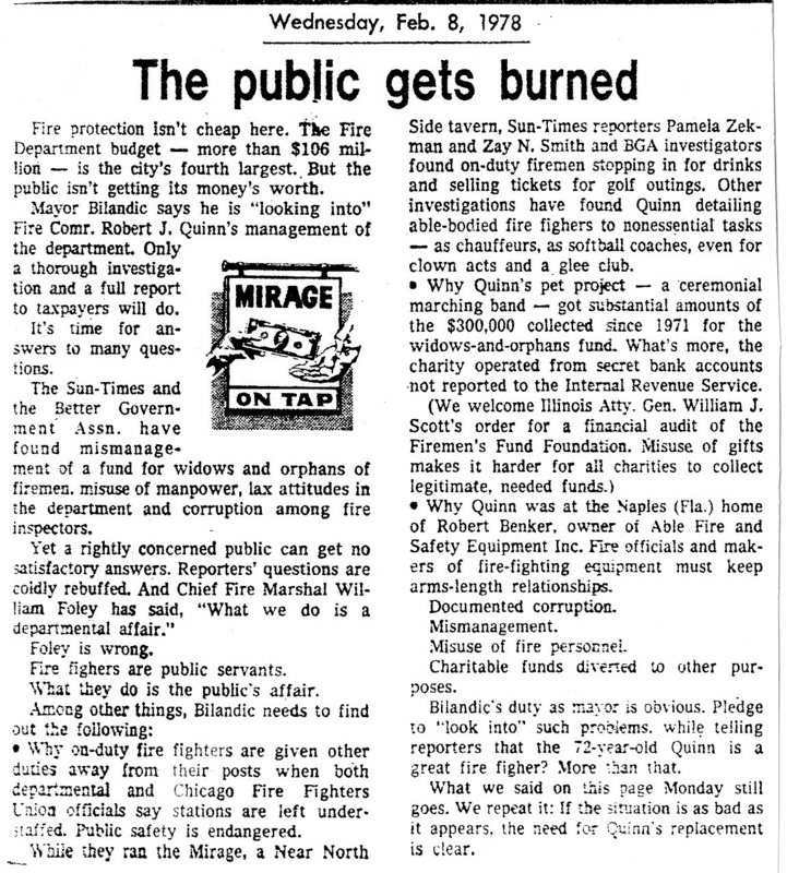 "Article titled ""The Public Gets Burned,"" written by Pamela Zekman and Zay N. Smith as part of their larger Mirage Editorial. Published by the Chicago Sun-Times in 1978."