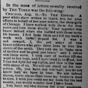 """Letter published in the Chicago Times in response to Nell Nelson's series , """"City Slave Girls."""""""
