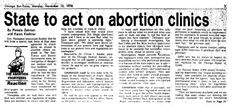 """Chicago Sun-Times article titled, """"State to Act on Abortion Clinics."""" Written Pamela Zekman and Karen Koshner in response to the """"Abortion Profiteers"""" series."""