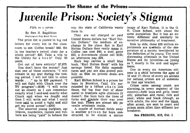 "Washington Post article titled, ""Juvenile Prison: Society's Stigma."" Written by Ben Bagdikian as part of the Shame of the Prisons series."