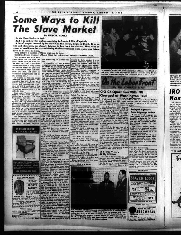 """New York Compass article titled, """"Some Ways to Kill The Slave Market."""" Written by Marvel Cooke in 1950."""