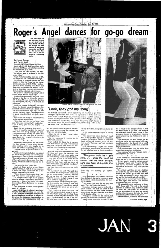 "Chicago Sun-Times article titled, ""Roger's Angel Dances for Go-Go Dream."" Written by Pamela Zekman and Zay N. Smith as part of the Mirage Tavern sting series."