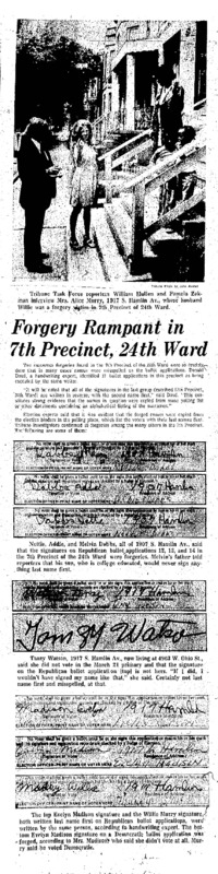 """Chicago Tribune article titled, """"Forgery Rampant in 7th Precinct, 24th Ward."""" Written by  William Mullen and Pamela Zekman about the Task Force Vote Fraud Investigation."""
