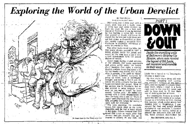"""Washington Post article titled, """"Exploring the World of the Urban Derelict."""" Written by Neil Henry in 1980."""