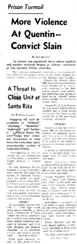 """San Francisco Chronicle article titled, """"More Violence at Quentin –Convict Slain."""" Written by Jim Brewer as part of the """"Behind Prison Bars"""" series."""