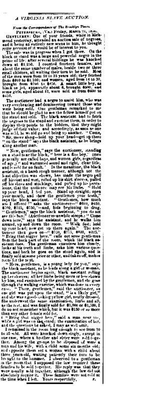 """A New York Tribune article titled, """"A Virginia Slave Auction."""" Written by a Brooklyn Times correspondent."""