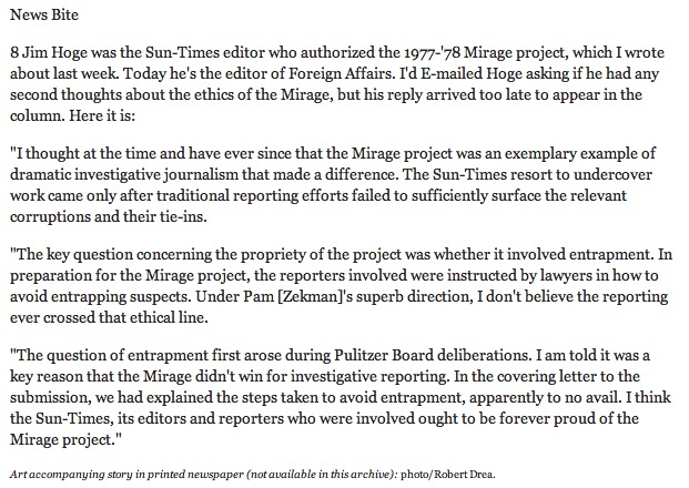 Former Chicago Sun-Times editor James Hoge's 2002 comment, looking back on the newspaper's Mirage tavern expose of 1978 under his leadership.