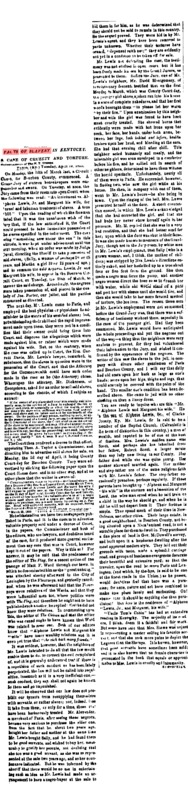 "New York Tribune article titled, ""Facts of Slavery in Kentucky."" Written by James Redpath."