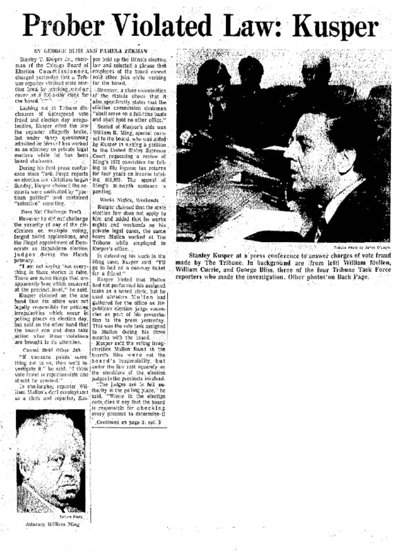 """Chicago Tribune article titled, """"Prober Violated Law: Kusper."""" Written by George Bliss and Pamela Zekman as part of the reaction to the Task Force Vote Fraud Investigation."""