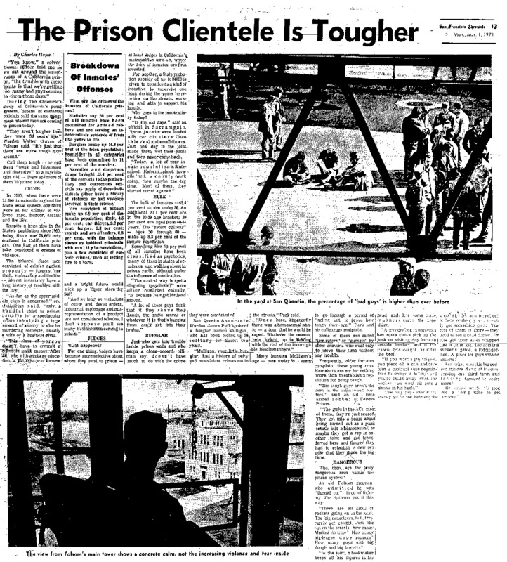 "San Francisco article titled, ""The Prison Clientele is Tougher."" Written by Charles Howe as part of the ""Behind Prison Bars"" series."