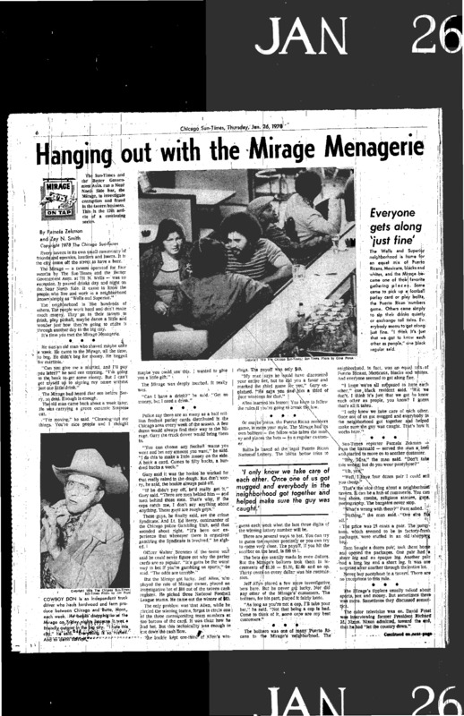 "Chicago Sun-Times article titled, ""Hanging Out With the Mirage Menagerie."" Written by Pamela Zekman and Zay N. Smith as part of the Mirage Tavern sting series."