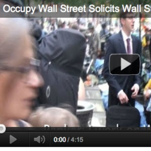 Video of James O'Keefe posing as a Wall Street banker and talking to protesters at Occupy Wall Street.