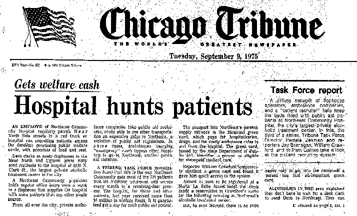 "Chicago Tribune article titled, ""Hospital hunts patients."" Written by the Task Force Report Team as part of the Task Force Report."