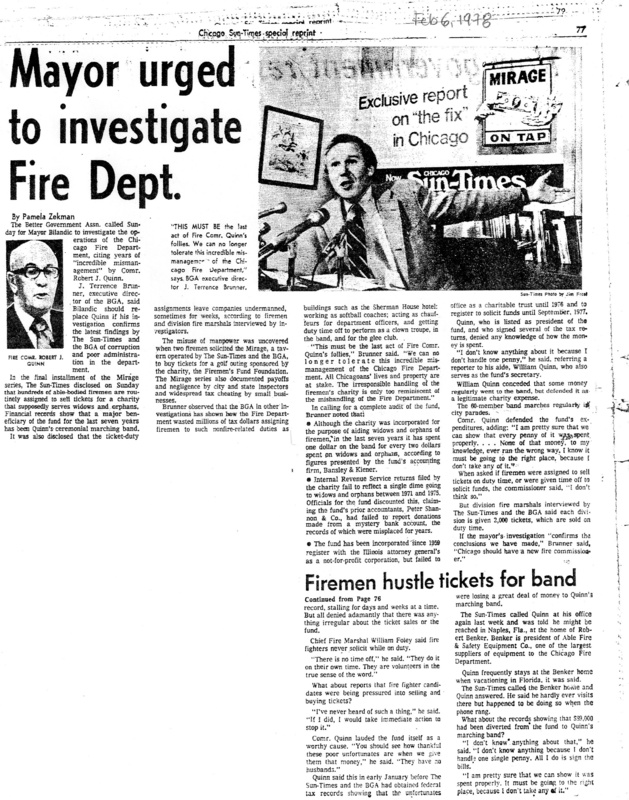"""Article written by Pamela Zekman for the Chicago Sun-Times titled """"Mayor urged to investigate Fire Dept."""" Published in 1978."""