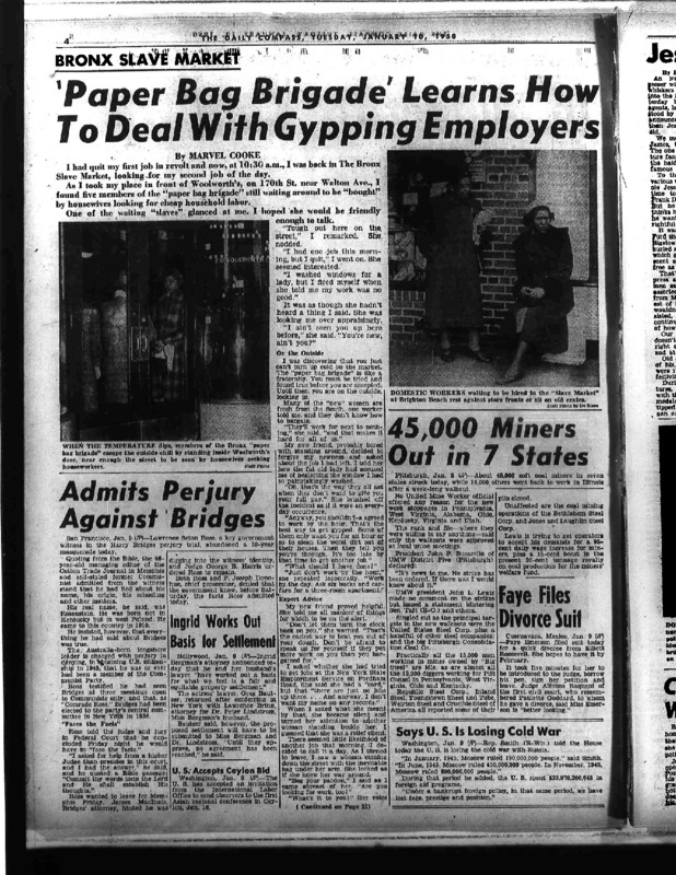 """New York Compass article titled, """"'Paper Bag Brigade' Learns How to Deal with Gypping Employers."""" Written by Marvel Cooke as part of her series on domestic day labor."""