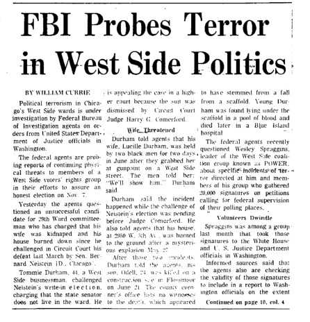 """Chicago Tribune article titled, """"FBI Probes Terror in West Side Politics."""" Written by William Currie as part of the reaction to the Task Force Vote Fraud Investigation."""