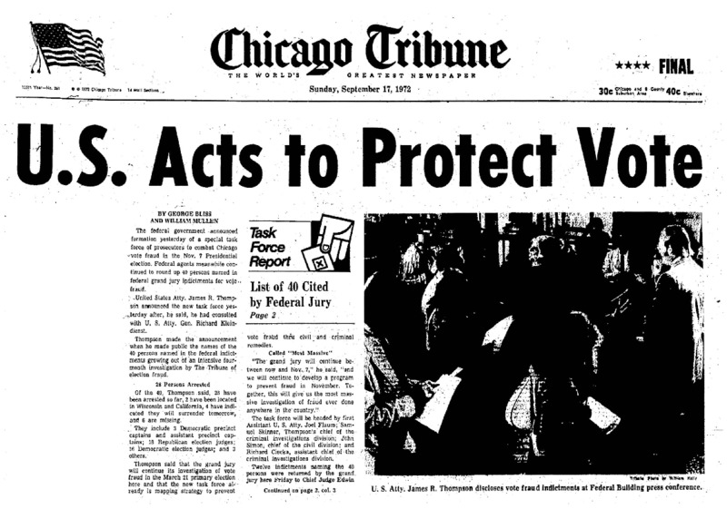 """Chicago Tribune Article titled, """"U.S. Acts to Protect Vote."""" Written by George Bliss and William Mullen as part of the reaction to the Task Force Vote Fraud Investigation."""