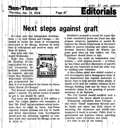 """Chicago Sun-Times article titled, """"Next Steps Against Graft."""" Written in 1978 as part of Pamela Zekman and Zay N. Smith's Mirage Editorial."""