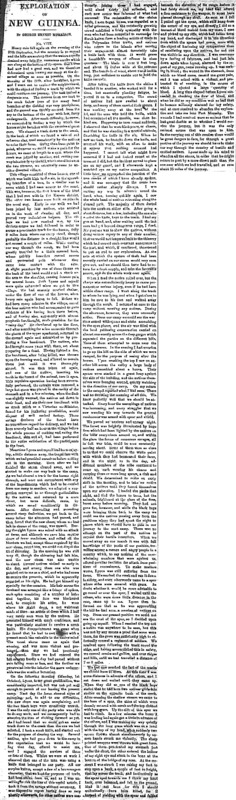 "The Age article titled, ""Exploration of New Guinea."" Written by George Morrison."
