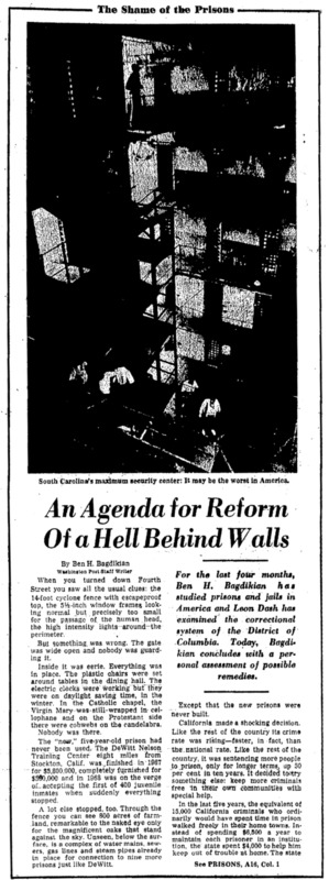 """Washington Post article titled, """"An Agenda for Reform of a Hell Behind Walls."""" Written by Ben Bagdikian as part of the Shame of Prisons series."""