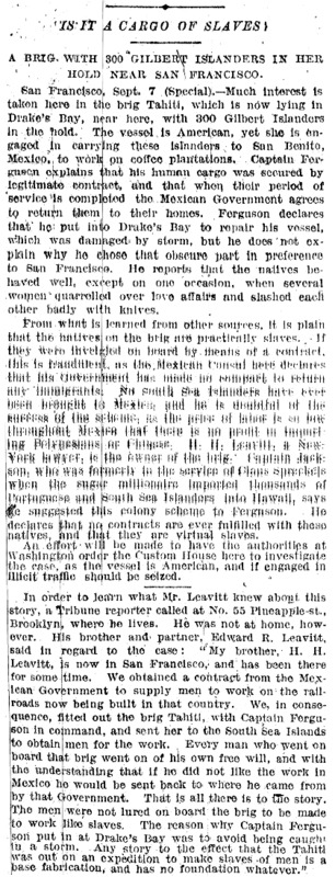 """New York Tribune article titled, """"Is it a Cargo of Slaves?"""""""