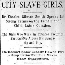 """Heading of the Chicago Times article titled, """"City Slave Girls: Dr. Charles Gilman Smith Speaks in Strong Terms on the Female and Child Labor Question."""" Written by Charles Gilman Smith and Nell Nelson."""