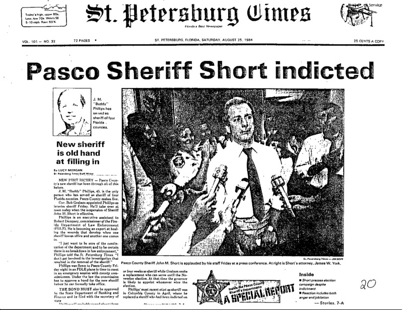 A new sheriff takes the place of John M. Short, who is suspended due to fraud.