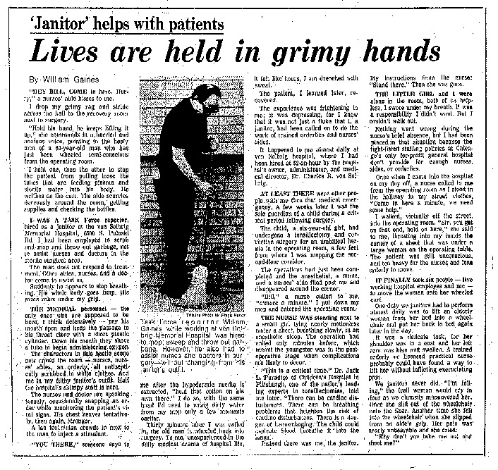 "Chicago Tribune article titled, ""'Janitor' Helps With Patients."" Written by William Gaines as part of the Von Solbrig Task Force Report."