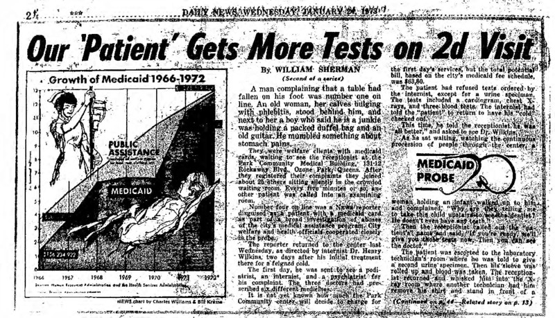 """New York Daily News article titled, """"Our 'Patient' Gets More Tests on 2D Visit."""" Written by William Sherman as part of a medicaid fraud investigation series."""