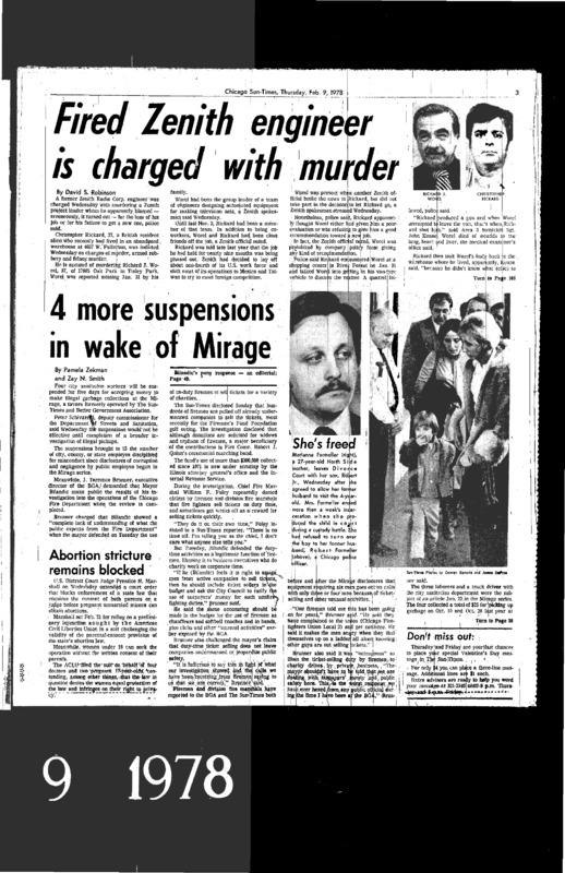"""Page of the Chicago Sun-Times with two articles. One, titled """"4 More Suspensions in the Wake of Mirage,"""" was written by Pamela Zekman and Zay N. Smith as part of their Mirage Editorial."""