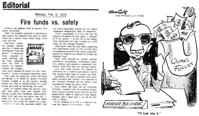"An article in the Chicago Sun-Times called ""Fire Funds vs. Safety,"" with a political cartoon. Pamela Zekman and Zay N. Smith wrote this article as part of their Mirage Editorial."