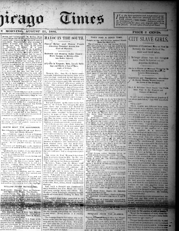 "Chicago Times article titled, ""City Slave Girls: Opinions of Prominent Men on How To Remedy the Great Evils of Female and Child Labor."" Written by J. McGregor Adams."