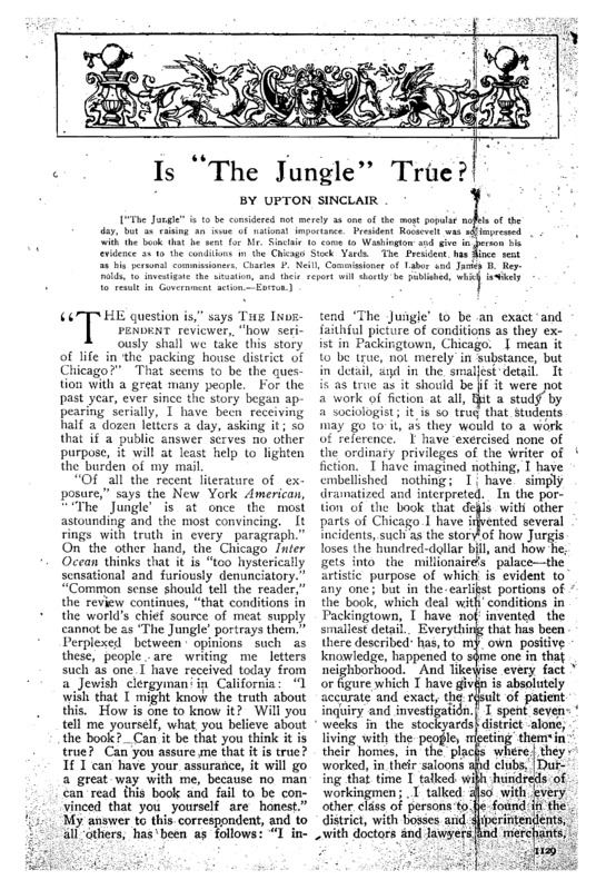 """The Independent article titled, """"Is 'The Jungle' True?"""" Written by Upton Sinclair."""