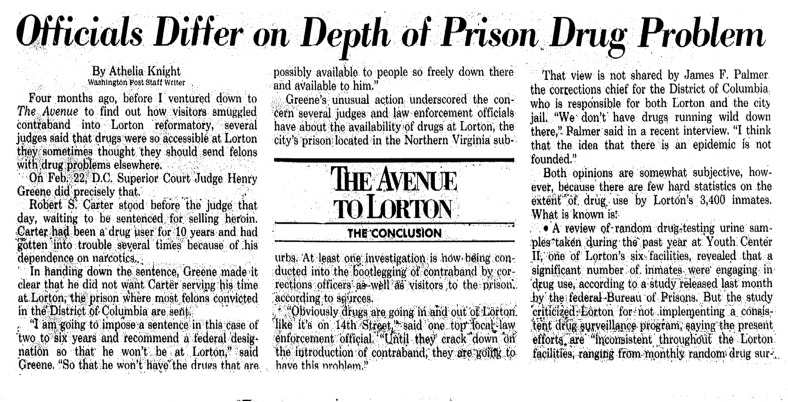"""Washington Post article titled, """"Officials Differ on Depth of Prison Drug Problem."""" Written by Athelia Knight as the prison series draws to a close."""