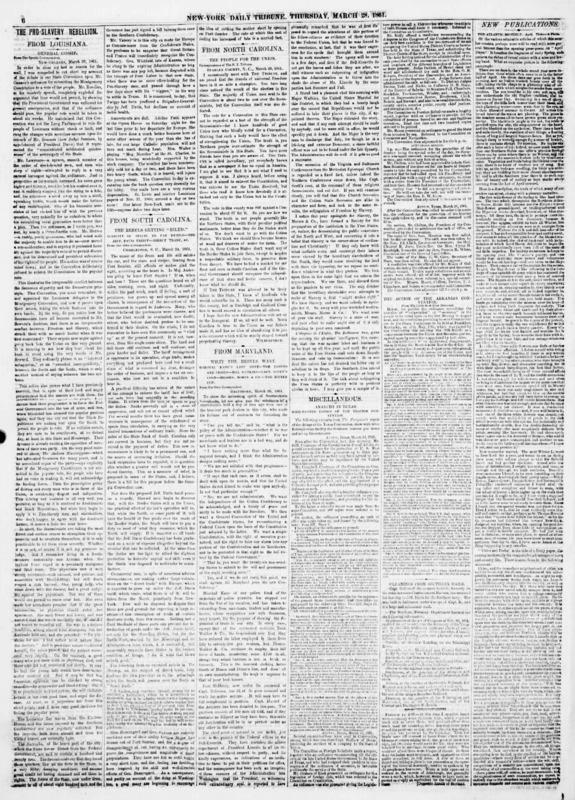 "Albert Richardson's daily column ""From Louisiana"" in the New York Tribune."
