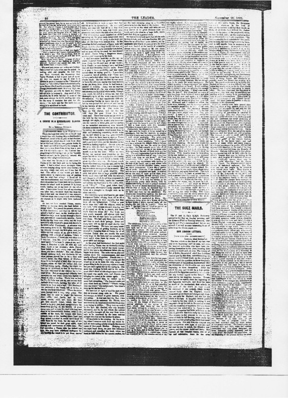 """The Leader article titled, """"The Contributor: A Cruise in a Queensland Slaver."""" Written by George Morrison as part of his series."""