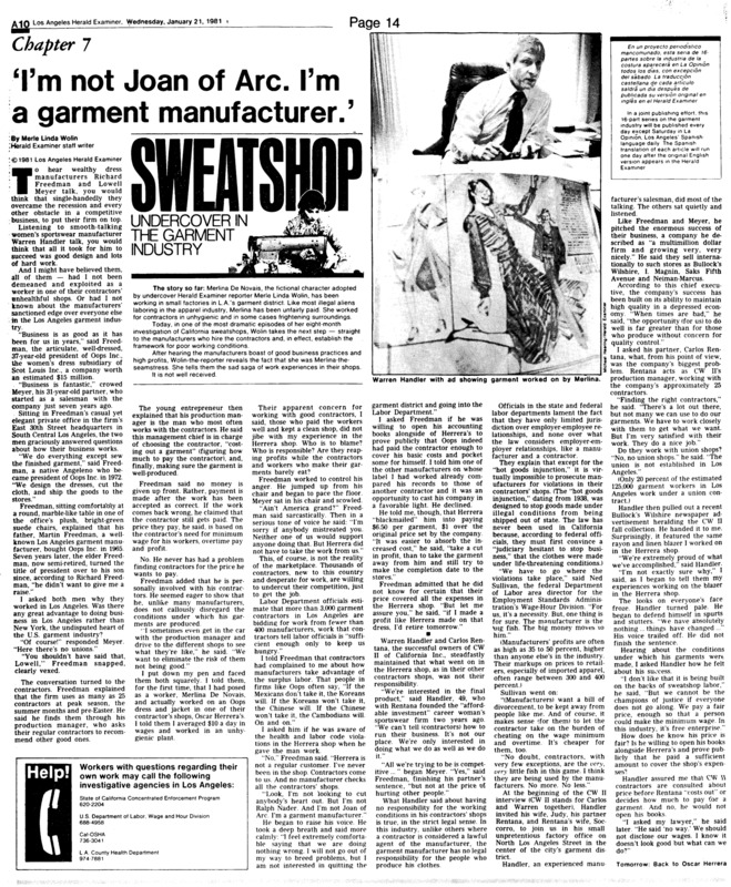 """Los Angeles Herald-Examiner article titled, 'I""""m not Joan of Arc. I'm a garment manufacturer.'"""" Written by Merle Linda Wolin as part of her series on the LA garment Industry."""
