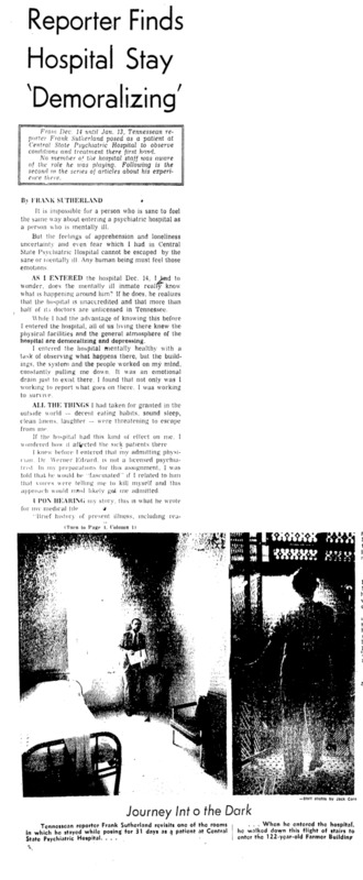 """Nashville Tennessean article titled,  """"Reporter Finds Hospital Stay """"Demoralizing."""" Written by Frank Sutherland as part of series."""