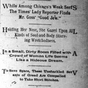 "Heading of the 5th Chicago Daily Times article Nell Nelson wrote as part of her series, ""City Slave Girls."""
