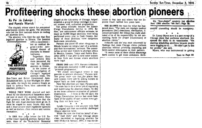 """Chicago Sun-Times article titled, """"Profiteering Shocks These Abortion Pioneers."""" Written by Pamela Zekman and Pamela Warrick."""