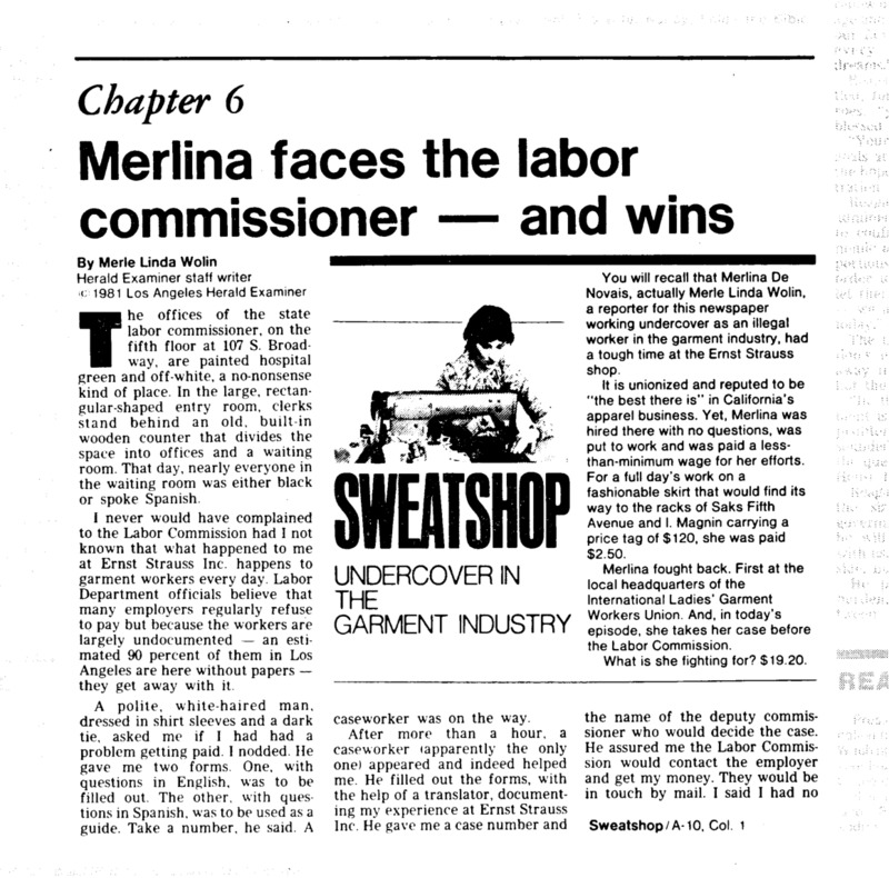 "Los Angeles Herald-Examiner article titled, ""Merlina faces the labor commissioner - and wins."" Written by Merle Linda Wolin as part of her series on the LA garment Industry."