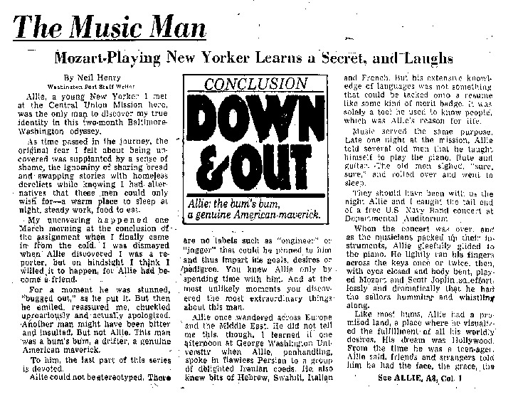 "Washington Post article titled, ""The Music Man."" Written by Neil Henry."