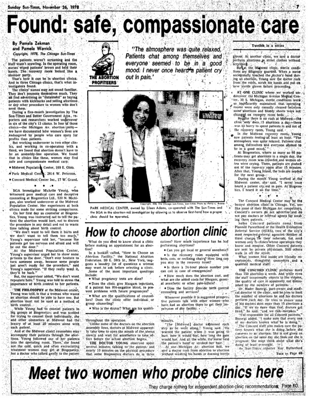 """Chicago Sun-Times article titled, """"Found: Safe, Compassionate Care."""" Written by Pamela Zekman and Pamela Warrick as part of the """"Abortion Profiteers"""" series."""