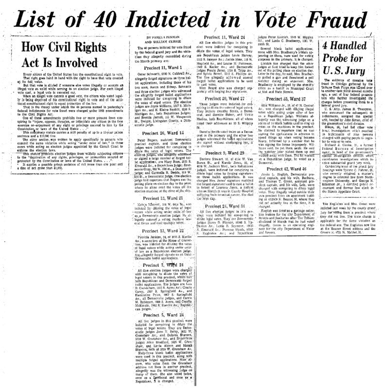"Chicago Tribune article titled, ""List of 40 Indicted in Vote Fraud."" Written by Pamela Zekman and William Currie as part of the follow-up to the Task Force Vote Fraud Investigation."