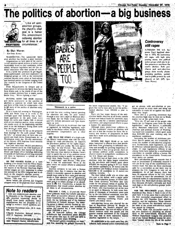 "Chicago Sun-Times article titled, ""The Politics of Abortion – A Big Business."" Written by Ellen Warren as part of the ""Abortion Profiteers"" series."