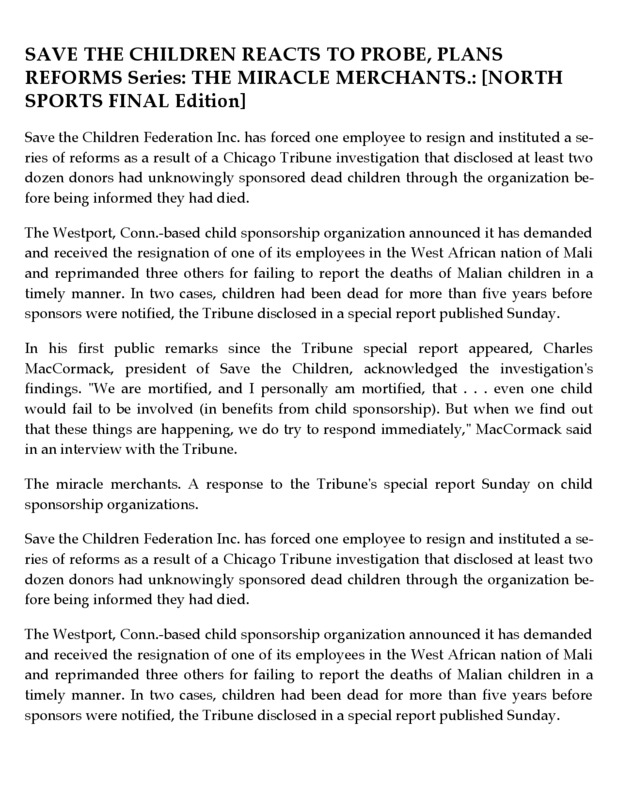 Save the Children responds to The Chicago Tribune's allegations about their organization.