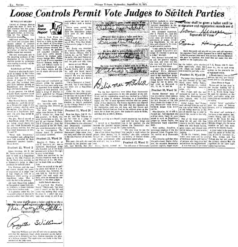 """Chicago Tribune article titled, """"Loose Controls Permit Vote Judges to Switch Parties."""" Written by William Mullen as part of the follow-up to the Task Force Vote Fraud Investigation."""
